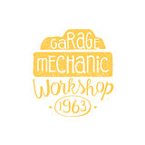 Car Mechanic Yellow Vintage Stamp