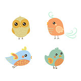 Four Cute Bird Chicks Set