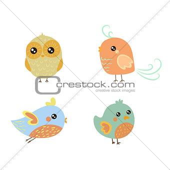 Four Cute Bird Chicks Set