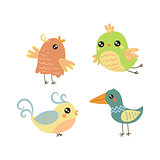 Four Cute Small Birds Set