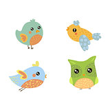 Four Cute Small Birds Collection