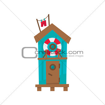 Beach Cabin With Life Preserver Buoy