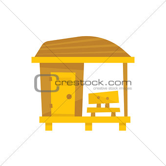 Small Wooden Beach Cabin With Bench