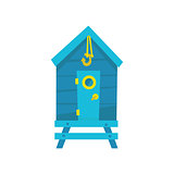 Blue Beach Cabin With Hook