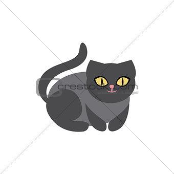 Black Cat Breed Primitive Cartoon Illustration