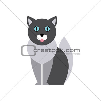 British Blue Cat Breed Primitive Cartoon Illustration
