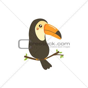 Toucan Realistic Childish Illustration