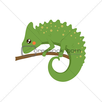 Chameleon Realistic Childish Illustration