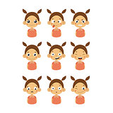Young Girl Portrait Icons With Different Emotions