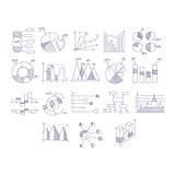 Different Type Of Hand Drawn Charts Set
