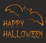 Happy Halloween dark party vector card with orange bat