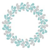 Pastel wreath floral frame isolated on white background
