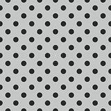 Tile vector pattern with black polka dots on grey background