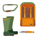 Hunting knife and backpack for trekking