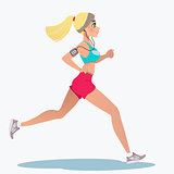Fitness running girl with mp3 player
