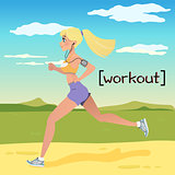 Blonde young woman jogging in the Countryside