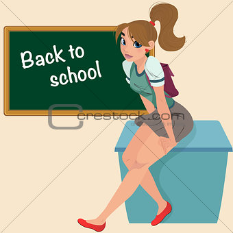 Cartoon young student teenager on desk