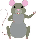 Cute cartoon mouse vector illustration.