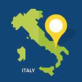 Italy map on blue background