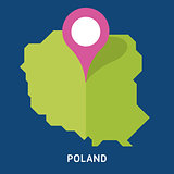 Map of Poland on blue background