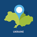 map of Ukraine country on blue background