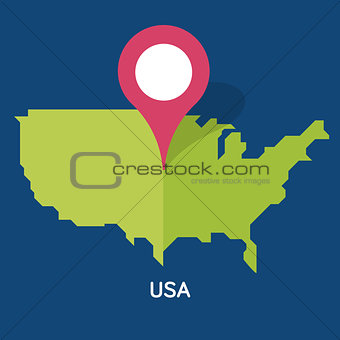 Modern Map - USA on blue background