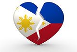 Broken white heart shape with Philippines flag