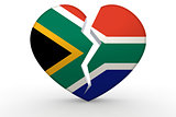 Broken white heart shape with South Africa flag