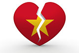 Broken white heart shape with Vietnam flag