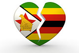 Broken white heart shape with Zimbabwe flag