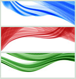 set of banners with waves, vector