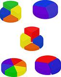 Set of color segmented diagrams