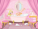 Young Princess Taking Bath