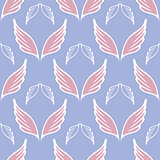 Angel wings seamless sketch pattern