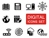 digital icons set with red signboard