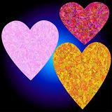 Set of three grunge hearts