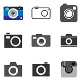 Photo camera icons set in vector