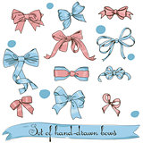set of vintage pink and blue bows
