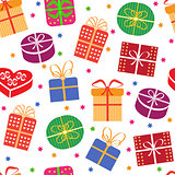Gift boxes with stars seamless pattern