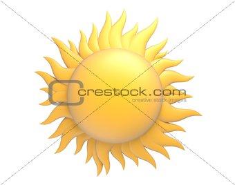 cartoon sun with beams 3d illustration