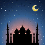 Night background with mosque silhouette