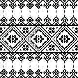Ukrainian or Belarusian folk art black floral embroidery pattern or print