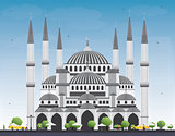 Blue Mosque in Istanbul Turkey. Vector Illustration.