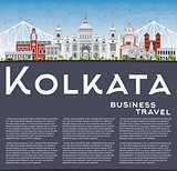 Kolkata Skyline with Gray Landmarks and Copy Space.