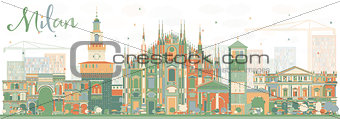 Abstract Milan Skyline with Color Landmarks.