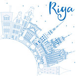 Outline Riga Skyline with Blue Landmarks and Copy Space.