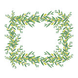 Watercolor olive wreath. Isolated vector illustration.
