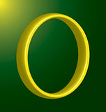 polished gold ring on green background vertical