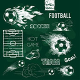 Football elements and ball on green chalkboard