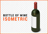 bottle of wine isometric flat vector